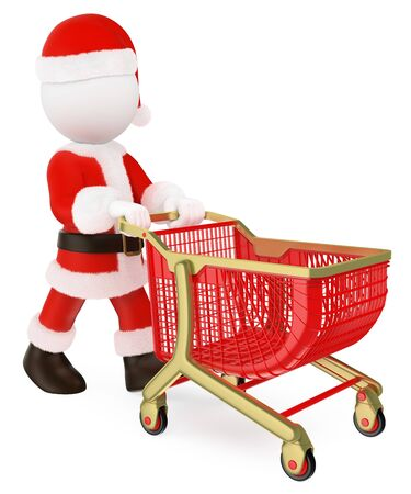 3d white people illustration. Santa Claus pushing a shopping cart empty. Isolated white background. Banco de Imagens