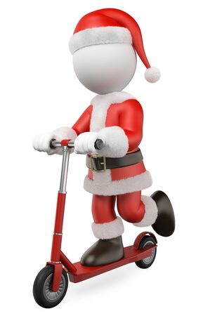 3d white people illustration. Santa Claus riding on a rental scooter. Isolated white background. Foto de archivo