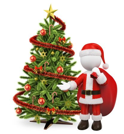 3d white people. Santa Claus with gift sack an christmas tree. Isolated white background.