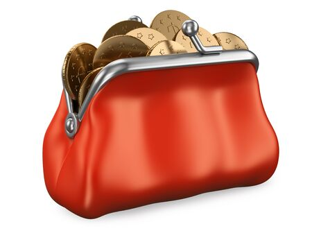3d Purse full of money illustration. Realistic render
