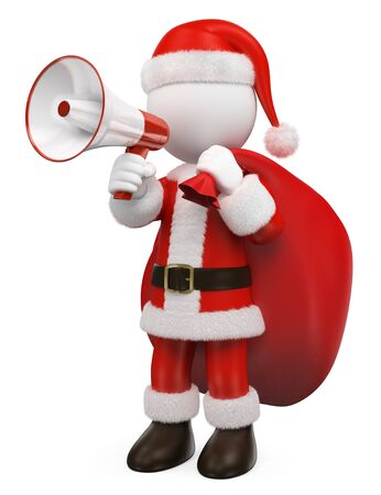 3d white people illustration. Santa Claus talking on a white and red megaphone. Isolated white background.  Stok Fotoğraf