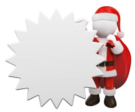 3d white people illustration. Santa Claus leaning on a blank star shaped sign. Isolated white background.