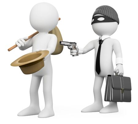3d white people illustration. Rich man robbing a poor man. Metaphor. Isolated white background.  Foto de archivo