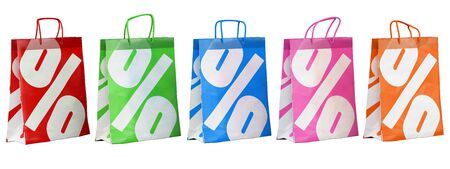3d sale paper bags in different colors illustration. Realistic render
