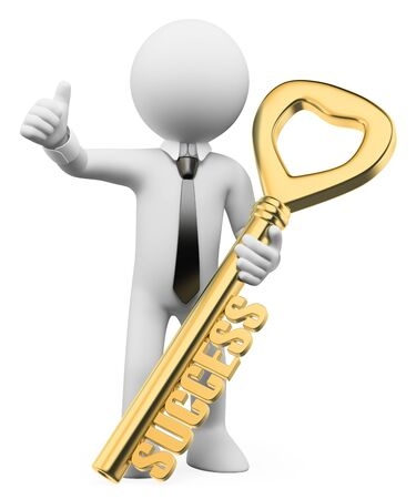 3d white business people illustration. Businessman the success key. Metaphor. Isolated white background.