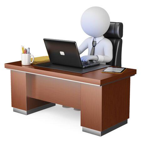 3d white business people illustration. Businessman working at office with his computer. Isolated white background.