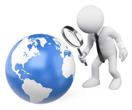 3d white people illustration. Businessman looking at the earth with a magnifying glass. Isolated white background.