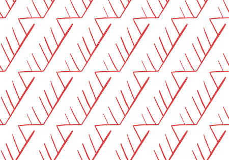 Vector texture background, seamless pattern. Hand drawn, red and white colors.