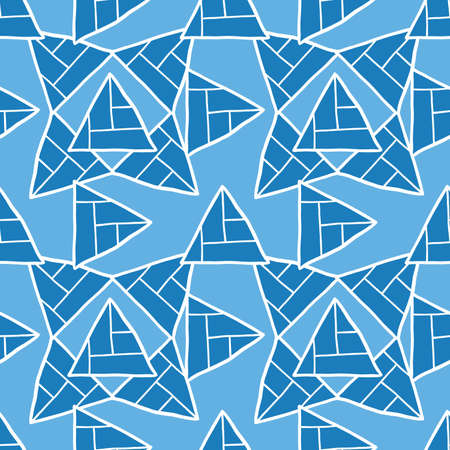 Vector seamless texture background pattern. Hand drawn, blue and white colors.