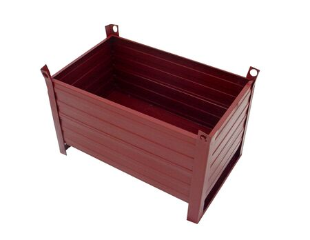 capacity: Metal painted box on a white background. Stock Photo
