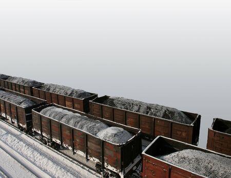 鉄道による石炭輸送。 写真素材