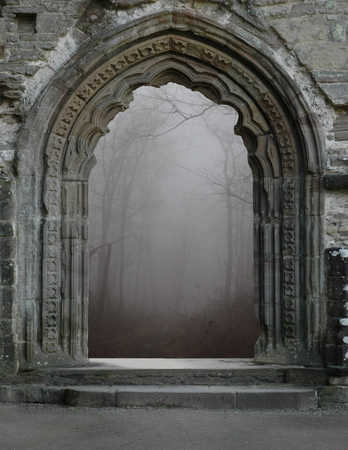 Historic, architectural arch leading into the Park.