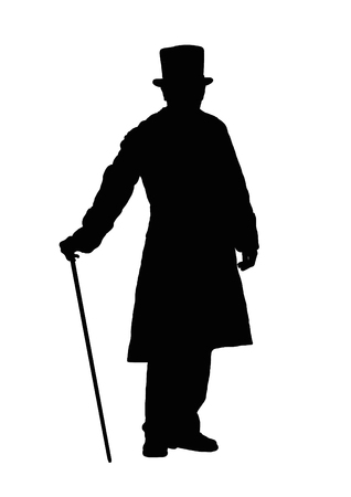 Silhouette of a man with a cane. Stok Fotoğraf