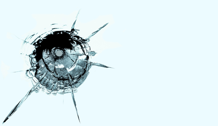 splinters: Bullet hole in glass.