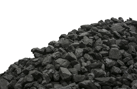 Industrially mined Coal on a white background. Banque d'images