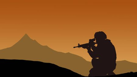 Silhouette of a military sniper in the mountains.