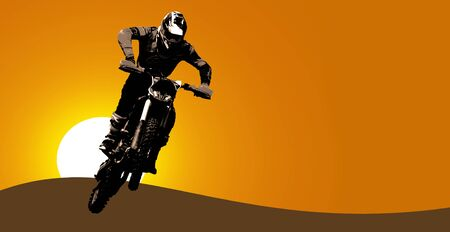 Motorsport jumping on a motorcycle. Illustration on the theme of sports. Stok Fotoğraf