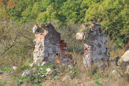 Landscape with the ruins of an old German house.