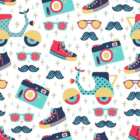 scooters: hipster seamless pattern  Illustration