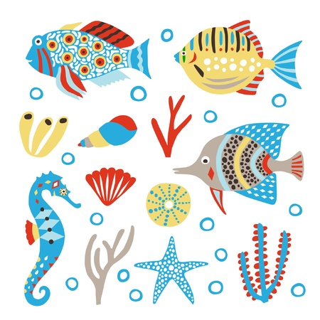 marine life cute set