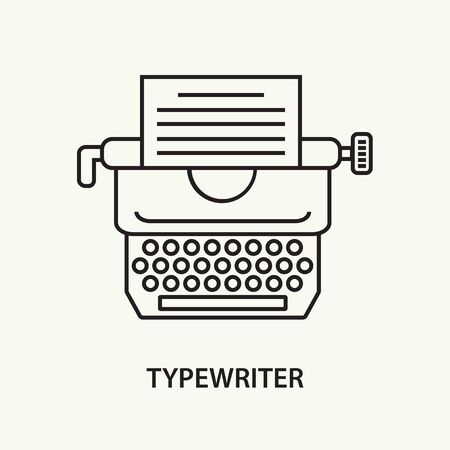 Typewriter flat line icon with paper. Vector illustration.