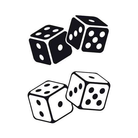 Cubos de dados sobre fondo blanco. Ilustración vectorial.