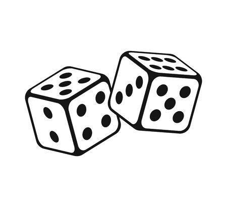 Cubos de dados en vuelo sobre fondo blanco. Juegos de azar de casino. Ilustración de vector.