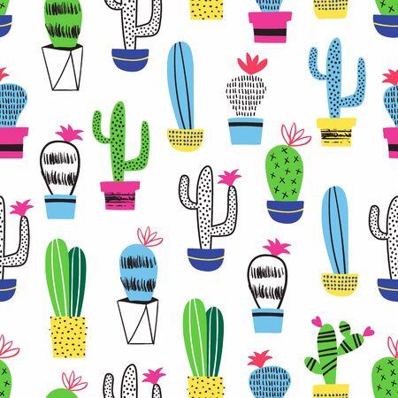 Cactus kid seamless pattern. Vector decoration.