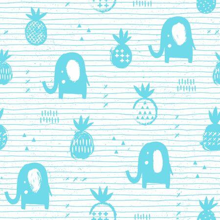 Elephant seamless pattern with pineapple. Kid design. Vector illustration. 向量圖像