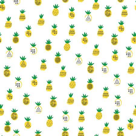 Pineapple tropical seamless pattern. Kid design. Vector illustration.