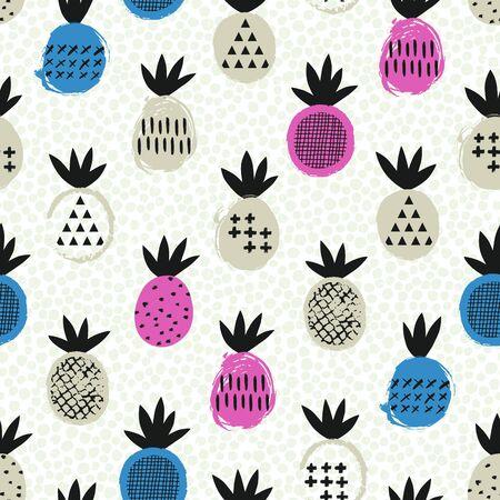 Pineapple seamless pattern. Kid design. Vector illustration. 向量圖像