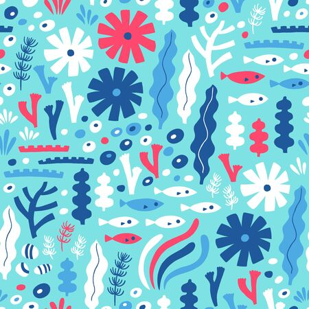 Sea life seamless pattern with fish and water plant. Vector illustration. Kid design. Ilustrace