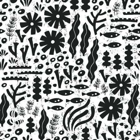 Sea life black seamless pattern with fish and water plant. Vector illustration. Wrapping. Surface decoration.