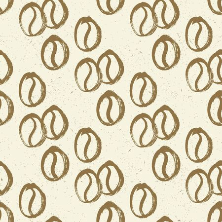Coffee beans seamless. Vector hand drawn background.