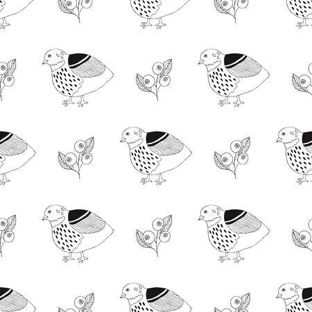 Quail seamless pattern. Vector illustration.