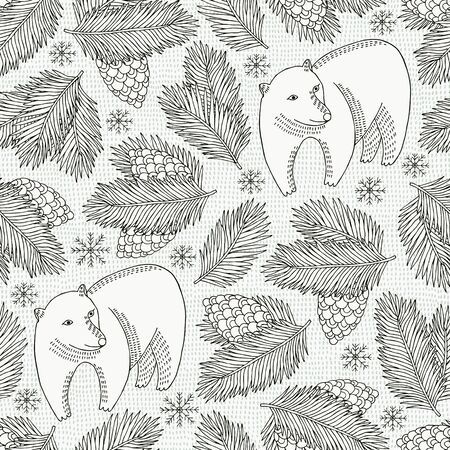 Bear and cone seamless pattern. Vector illustration.