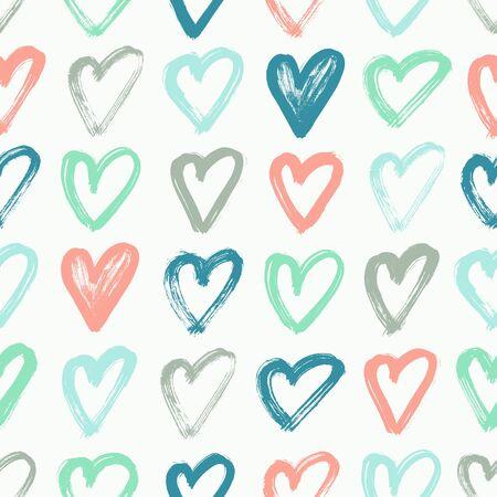 Heart hand drawn seamless pattern. Vector illustration.