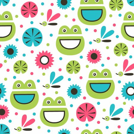 Funny frog seamless pattern. Vector illustration. Surface decoration. Archivio Fotografico - 138425419