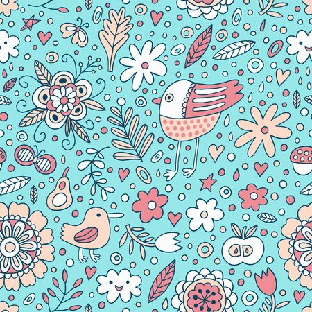 Bird and plant seamless pattern. Vector illustration