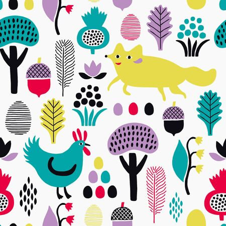 Fox and rooster seamless pattern with plant elements. Vector illustration.