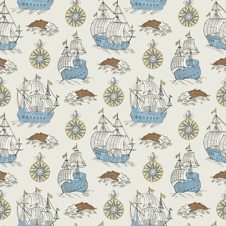 ship retro seamless background Ilustracja