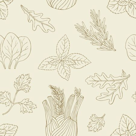 Herb seamless pattern. Surface hand drawn decoration with mint, spinach, basil, parsley. Vector illustration.