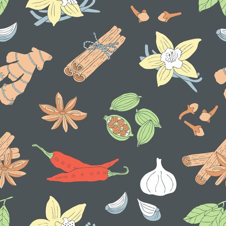 Spice seamless background with vanilla, cinnamon, anise, cardamon, pepper, garlic. Ilustracja