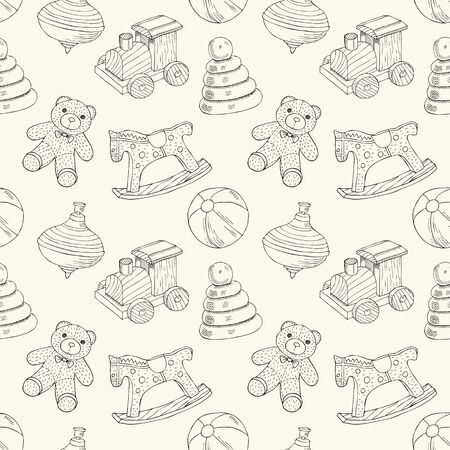 Retro toys seamless pattern with train, horse, ball, bear, peg, pyramid. Vector illustration. Wrapping. Surface design. Ilustrace