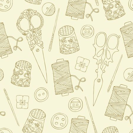 Sewing hand drawn seamless pattern. Vector illustration.