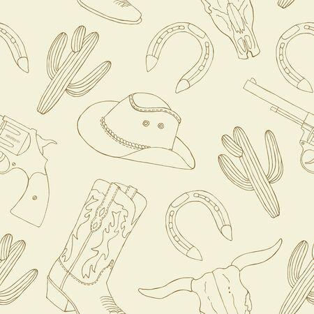 Vaquero dibujado a mano de patrones sin fisuras. Ilustración vectorial