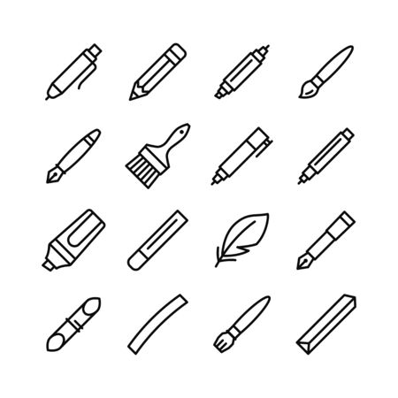 Tools for drawing, calligraphy, lettering, sketching flat line icon set. Paintbrush, pen, pencil, feather, marker, felt pen, charcoal, crayon, chalk, bamboo. Editable strokes. Vector illustration.