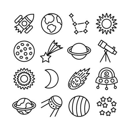 Space flat line icon set. Rocket, planets, sun, moon, comet, telescope, alien, constellation, star. Editable strokes. Vector illustration. Ilustracja