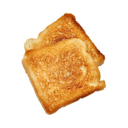 Fried toast bread isolated on white background