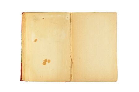 Opened old book isolated on white background
